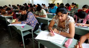 Students writing the Model EAMCET-2011 Examination organised by Eenadu at Lal Bahadur College Mehdipatnam in Hyderabad on 4th May, 2011.